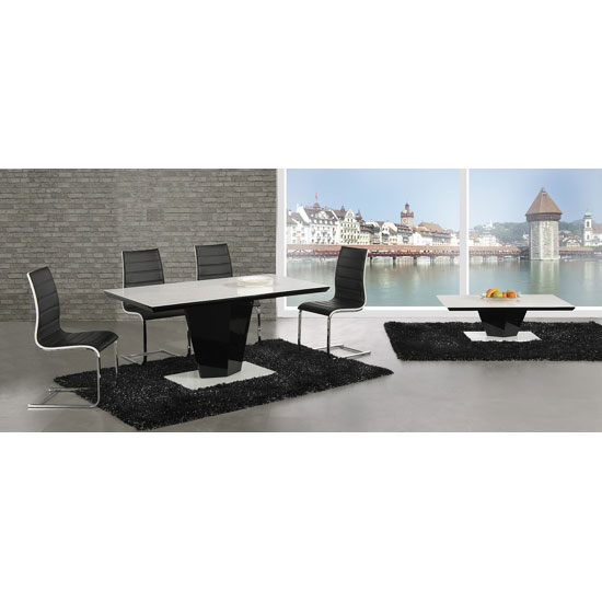 Lerona High Gloss Coffee Table With White Top And Black Column