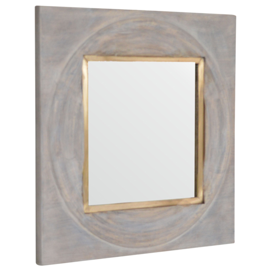 Leonardo Wall Bedroom Mirror In Acid Wash And Brass Inlay Frame