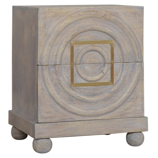 Leonardo Wooden Bedside Cabinet In Acid Wash And Brass Inlay