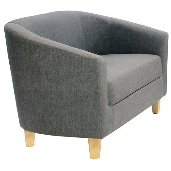 Leporis Linen Fabric 1 Seater Sofa In Dark Grey