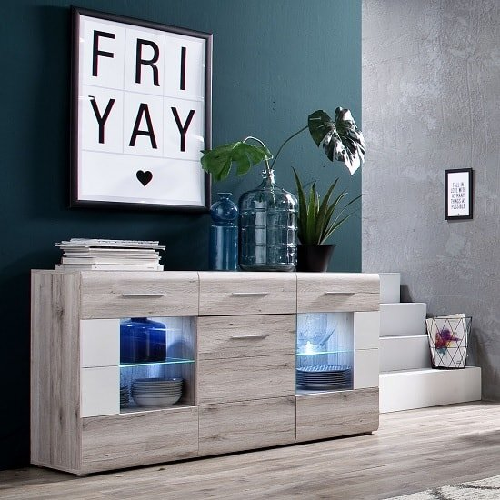 Lerida Sideboard In Sand Oak With 3 Doors And LED