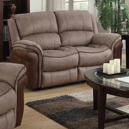 Lerna Fusion Fabric 2 Seater Sofa In Taupe And Tan