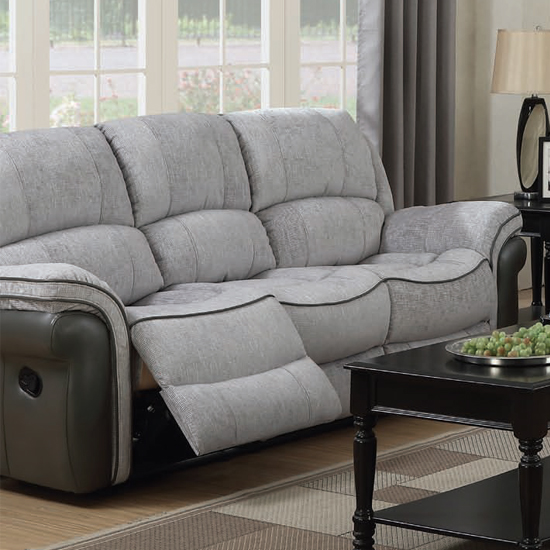 Lerna Fusion Fabric 3 Seater Sofa In Grey