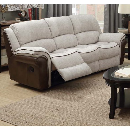 Lerna Fusion Fabric 3 Seater Sofa In Mink