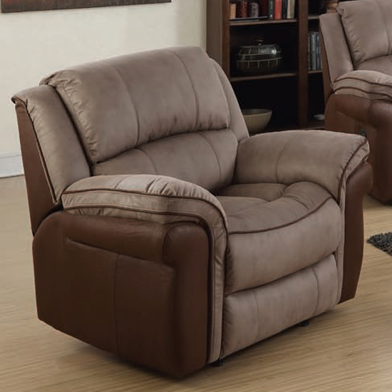 Lerna Fusion Lounge Chaise Armchair In Taupe And Tan