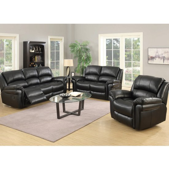 Lerna Leather 3 Seater Sofa And 2 Seater Sofa Suite In Black