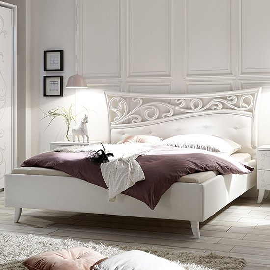 Lerso Faux Leather King Size Bed In White