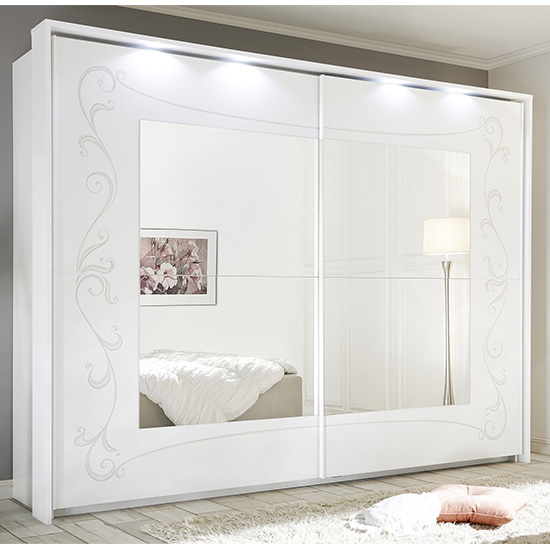 Lerso LED Mirrored Wooden Sliding Wardrobe In Serigraphed White