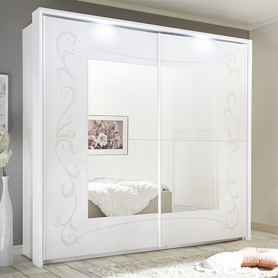 View Lerso led sliding door mirrored wardrobe in serigraphed white