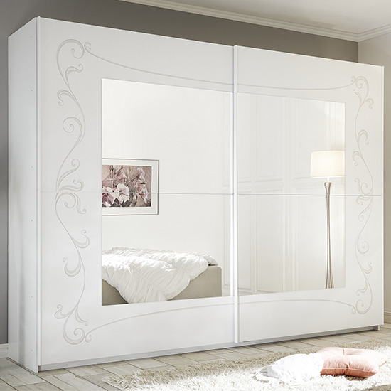 Lerso Mirrored Wooden Sliding Wardrobe In Serigraphed White