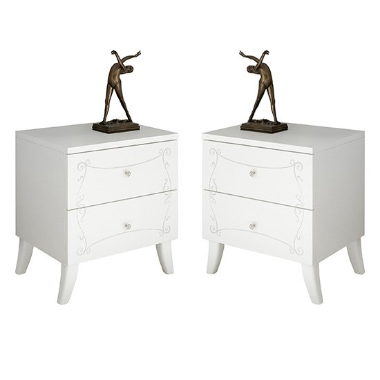 Lerso Serigraphed White Wooden Nightstands In Pair
