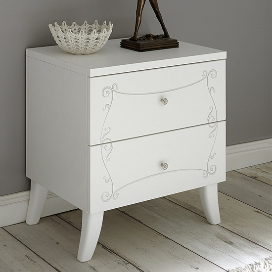 Lerso Wooden Nightstand In Serigraphed White