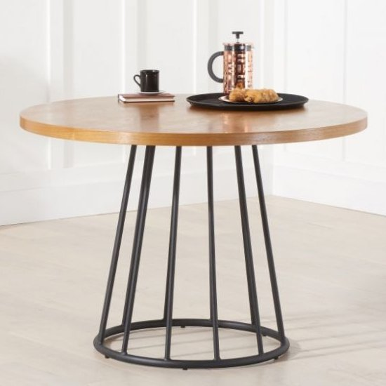 Lesath Wooden Dining Table In Ash Veneer With Metal Base