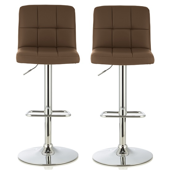 Lesly Bar Stool In Cappuccino Faux Leather In A Pair