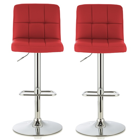Lesly Contemporary Bar Stool In Red Faux Leather In A Pair