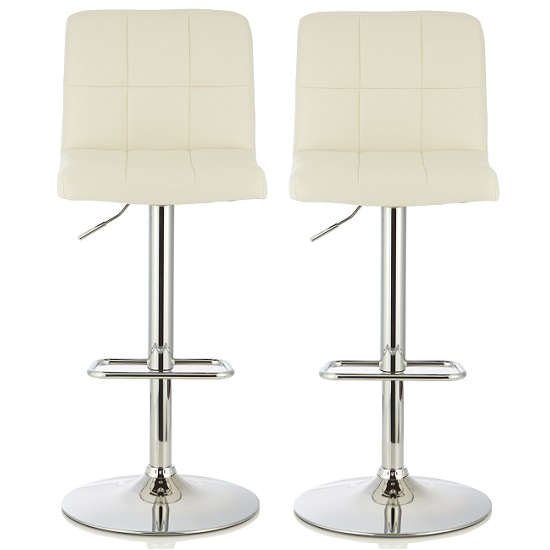 Lesly Contemporary Bar Stool In White Faux Leather In A Pair