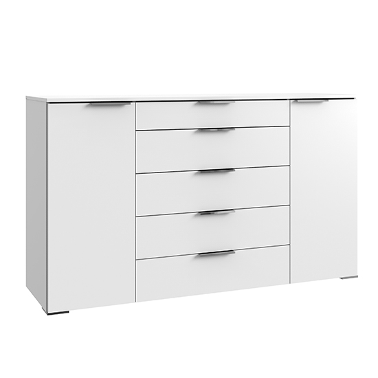 Levelup Large Sideboard In White With 2 Doors And 5 Drawers