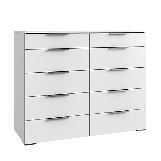Levelup Wooden Chest Of Drawers In White With 10 Drawers