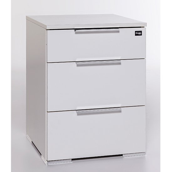 Levelup Wooden Chest Of Drawers In White With 3 Drawers