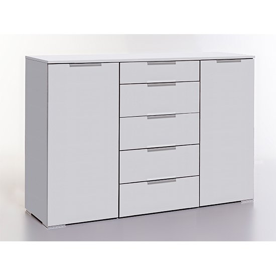 Levelup Wooden Sideboard In White With 2 Doors And 5 Drawers
