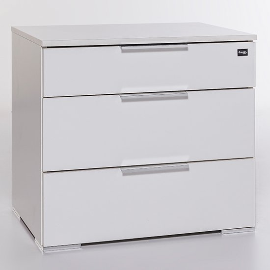 Levelup Wooden Wide Chest Of Drawers In White With 3 Drawers_1