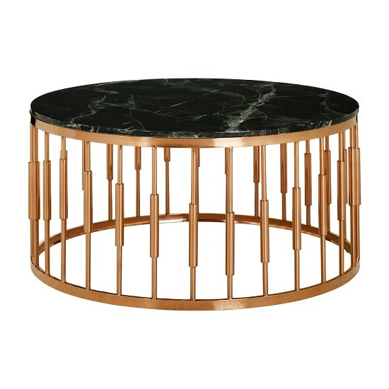 Levinson Round Marble Top Coffee Table With Rose Gold Frame