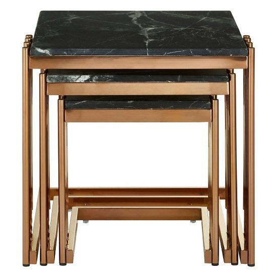 Gloas Marble Top Nest Of Tables With Rose Gold Frame