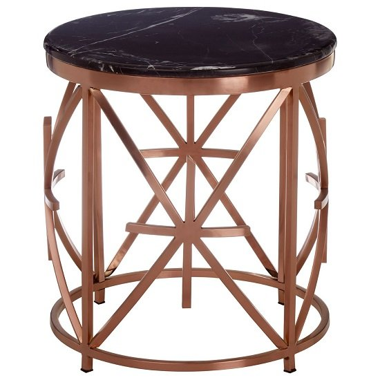 Gloas Marble Top Side Table With Rose Gold Frame