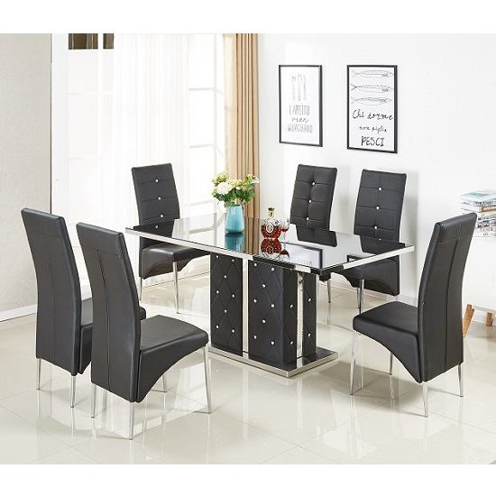 Levo Glass Dining Table In Black PU With 6 Vesta Chairs