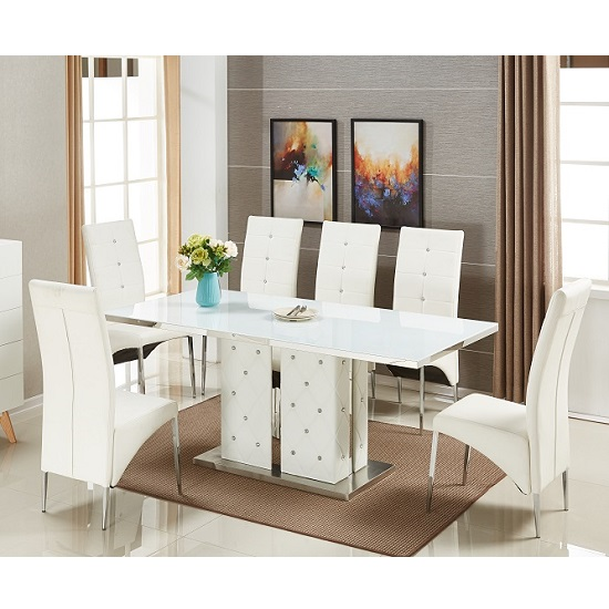 Levo Glass Dining Table In White PU With 6 Vesta Chairs