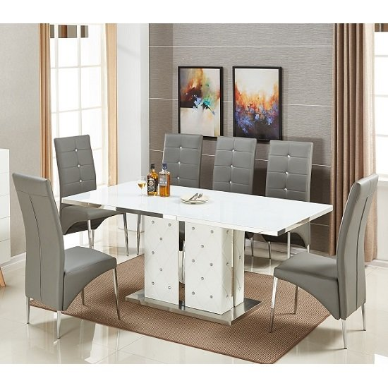 Levo Glass Dining Table In White PU With 6 Vesta Grey Chairs
