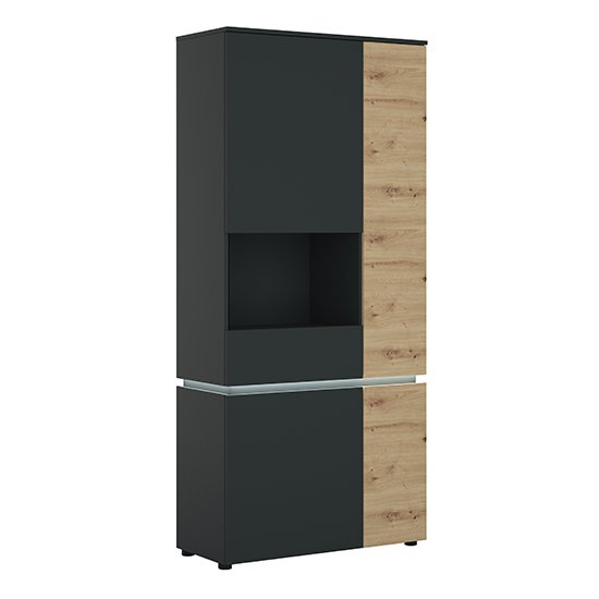 Levy LED Tall 4 Doors Left Handed Display Cabinet In Oak Grey