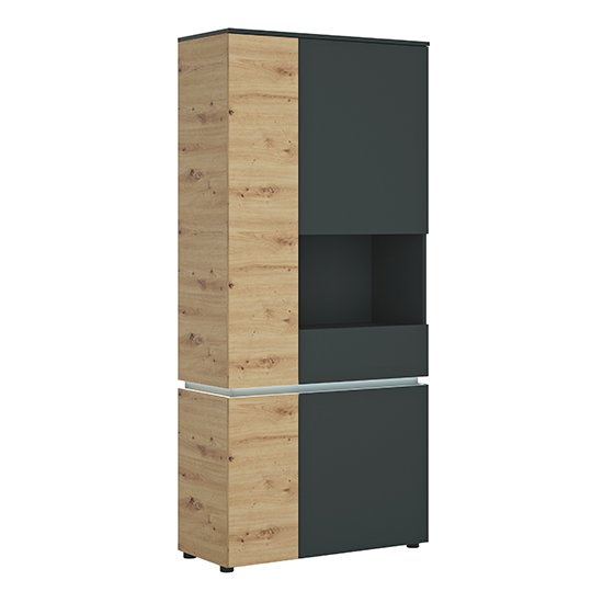 Levy LED Tall 4 Doors Right Handed Display Cabinet In Oak Grey