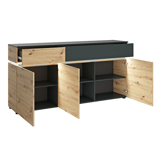 Levy LED Wooden 3 Doors 2 Drawers Sideboard In Oak And Grey_2