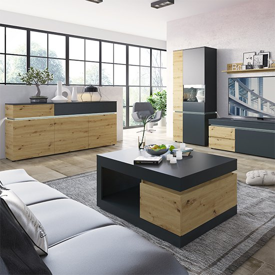 Levy LED Wooden 3 Doors 2 Drawers Sideboard In Oak And Grey_3