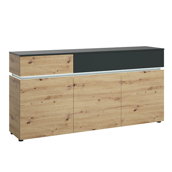 Levy LED Wooden 3 Doors 2 Drawers Sideboard In Oak And Grey_1
