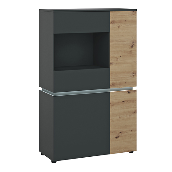 Levy LED Wooden 4 Doors Low Display Cabinet In Oak And Grey