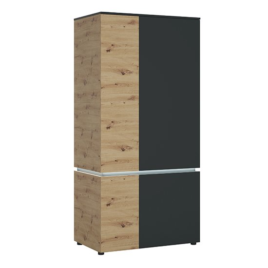 Levy LED Wooden 4 Doors Wardrobe In Oak And Grey