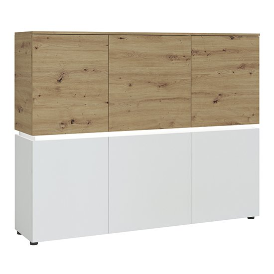 Levy LED Wooden 6 Doors Storage Cabinet In Oak And White