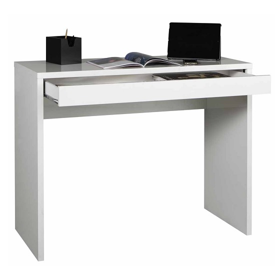 Lewis Compact Computer Desk In White Gloss With 1 Drawer
