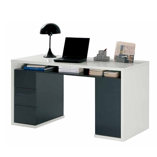 Lewis Computer Desk In Matt White And Charcoal Gloss