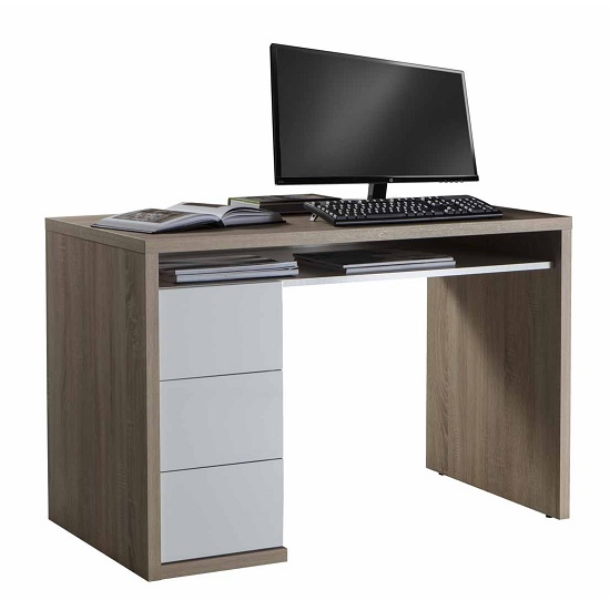 Lewis Computer Desk In Sonoma Oak With 3 White Gloss Drawers