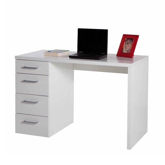 Lewis Wooden Small Computer Desk In White Gloss With 4 Drawers