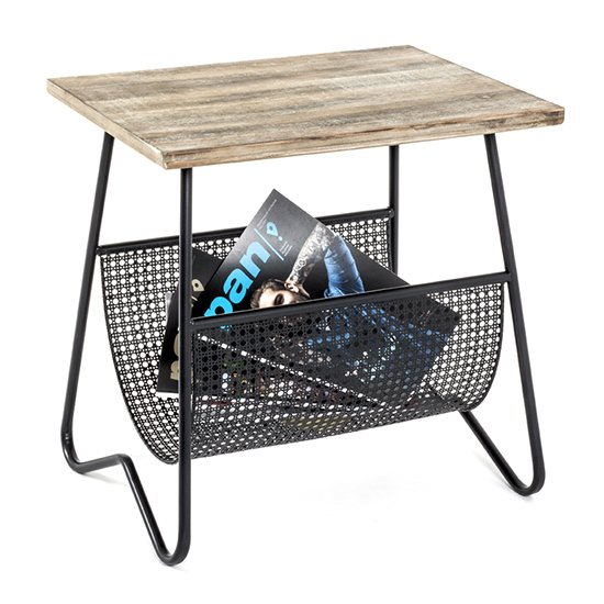Lewiston Wooden Side Table In Natural With Black Metal Legs