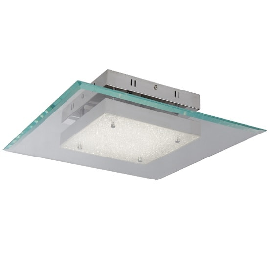 Lexi Square LED Glass Pendant In Chrome