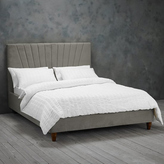 Lexie King Size Fabric Bed In Silver