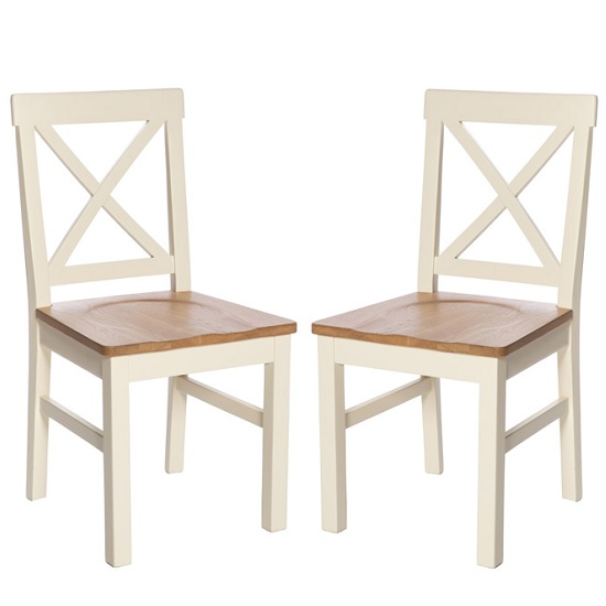 Product photograph showing Lexington Wooden Dining Chair In Ivory And Solid Seat In A Pair