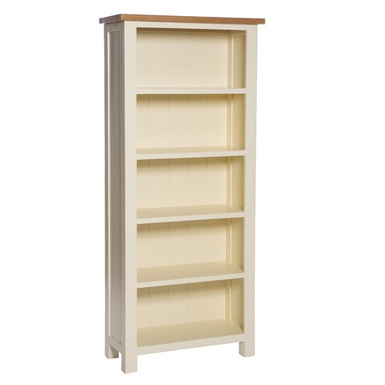 Lexington Wooden Bookcase In Ivory With 5 Shelves