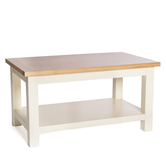 Lexington Wooden Coffee Table In Ivory With Undershelf