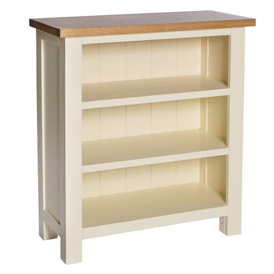 Lexington wooden low bookcase in ivory with shelves